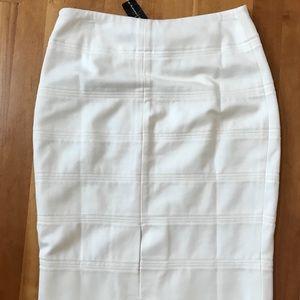 White House Black Market Skirts - WHBM White Ponte Banded Pencil Skirt
